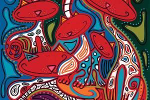 Zeefdruk - Grafiek - Camouflage Katten Zeefdruk - Toyisme. Kunst te koop. Koop kleurrijke kunstdruk online.