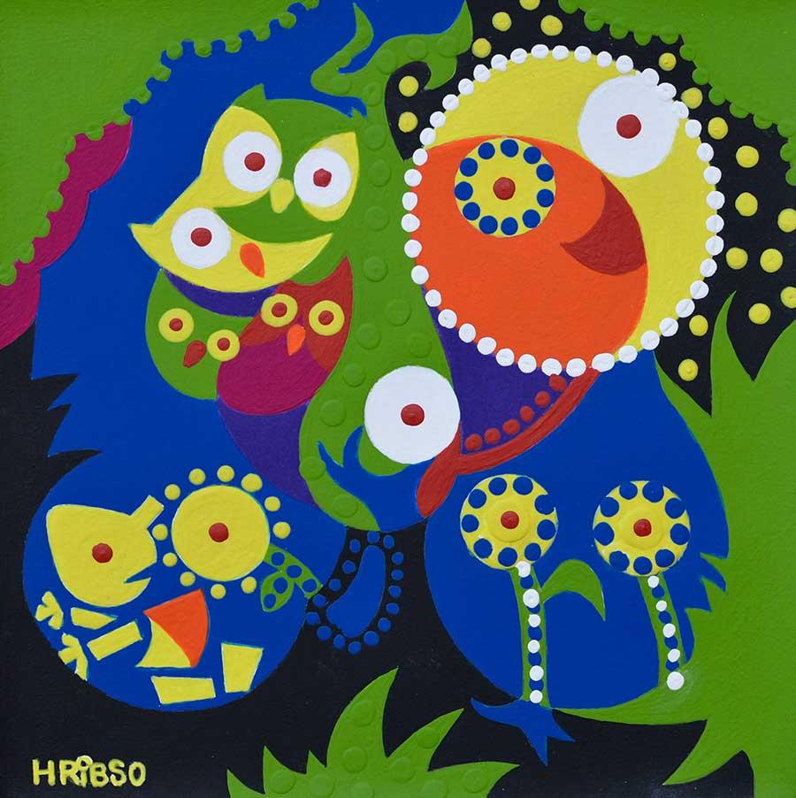 Schilderij - Uilenboom - Toyisme. Hedendaagse kunst online kopen.