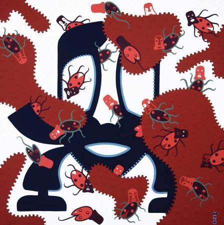 Schilderij - Gemaskerd Bal - Toyisme. Hedendaagse kunst online kopen.