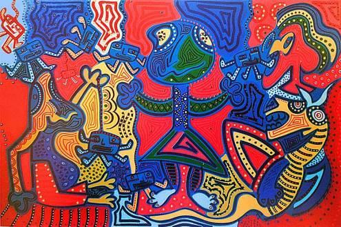Schilderij - Schermspeler - Toyisme. Hedendaagse kunst online kopen.