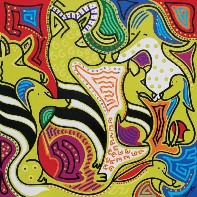 Schilderij - Zebrahonden - Toyisme. Hedendaagse kunst online kopen.