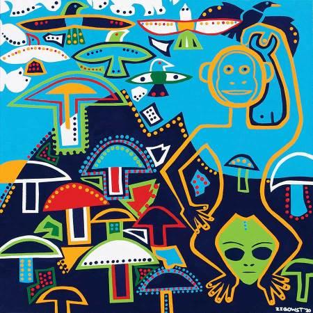 Schilderij - Eerste Wijze Man - Toyisme. Hedendaagse kunst online kopen.