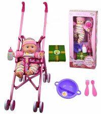 Baby Doll Girl With Pink Stroller Doll Feeding Milk Bottle