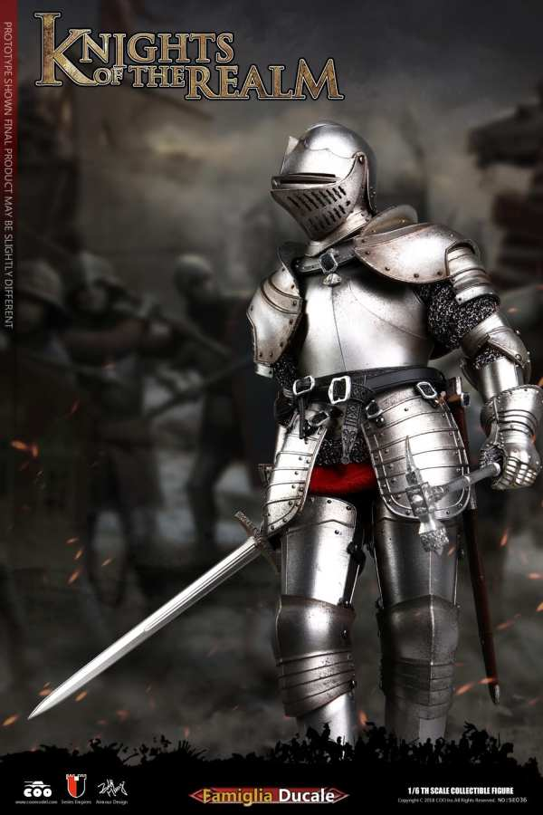 """COOMODEL SE038 1:6th KNIGHTS OF THE REALM Silver Metal Arm armor F12/"""" Figure"""