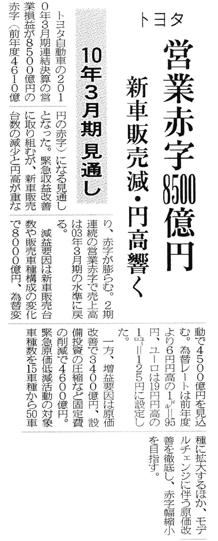 トヨタ企業サイト トヨタ自動車75年史 第3部 第5章 第1節 第3項 赤字決算