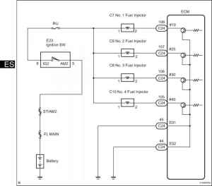 Wiring diagram of the ignition system  Toyota Camry Repair