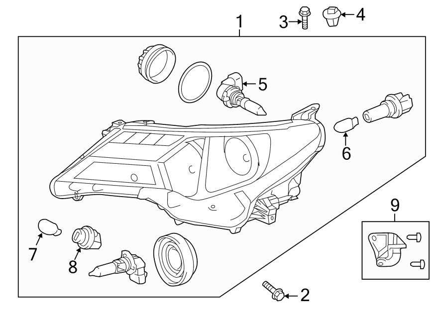 Toyota RAV4 Headlight Assembly (Right). CANADA BUILT, 2013