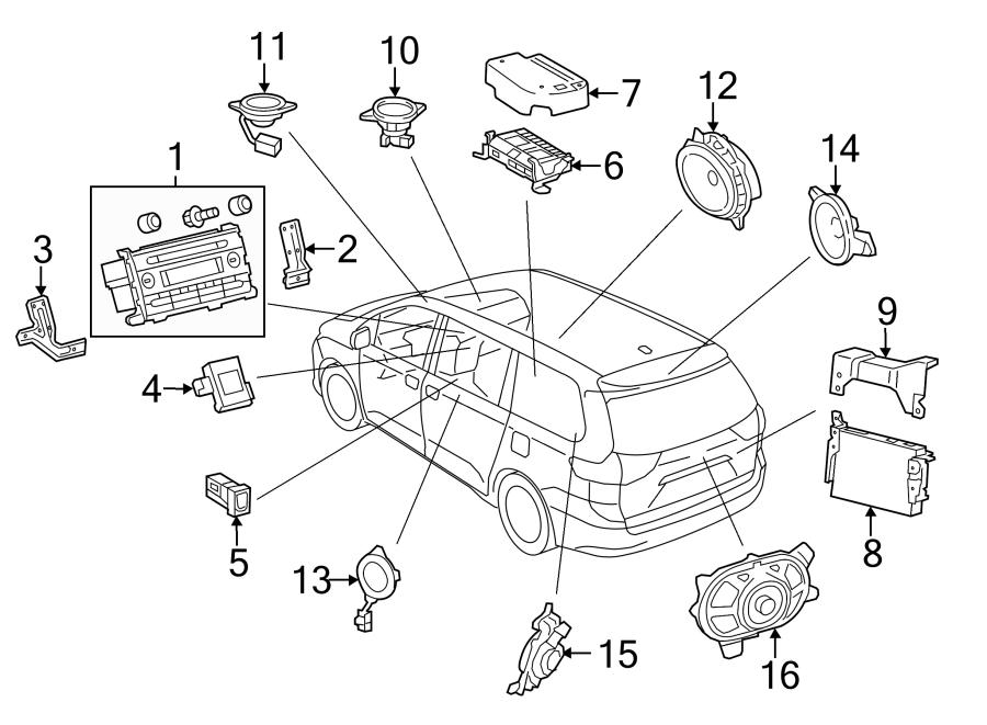 Toyota Sienna Speaker. 2011-14, rear. 2015-20, rear, w/10