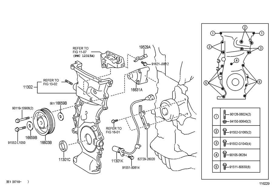 Toyota RAV 4 Sensor, crank position. Sensor, position; (l
