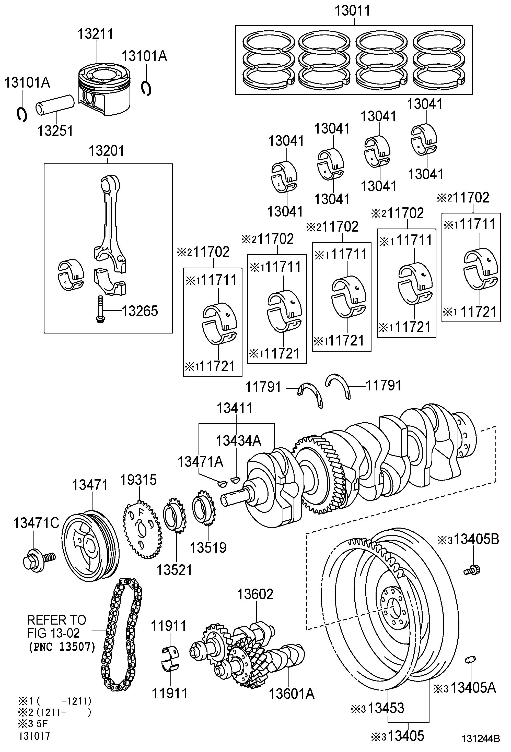 Toyota Corolla Bearing Crankshaft Mark 3 Valve Engine