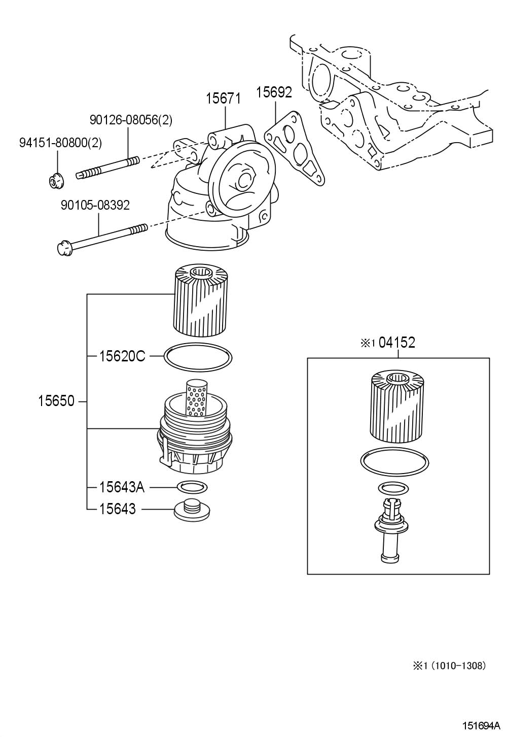 Toyota Tundra Gasket, oil filter bracket. Efi, dohc, valve