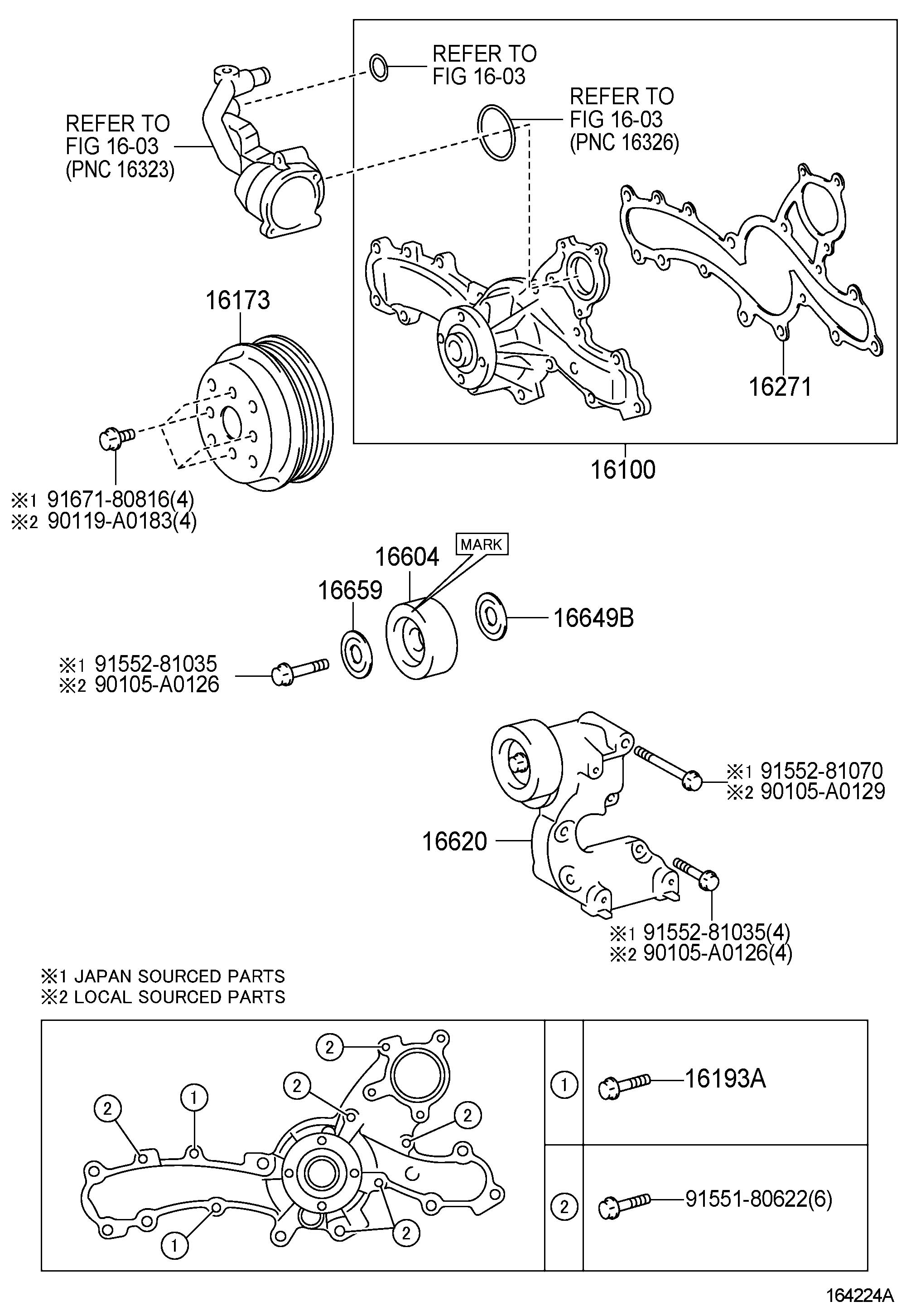 Toyota Venza Pump assembly, engine water. Pump, water; (l