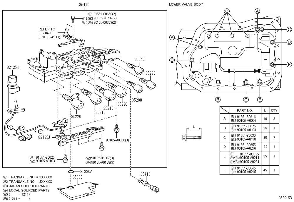 2013 Toyota Camry Body assembly, transmission valve. Body