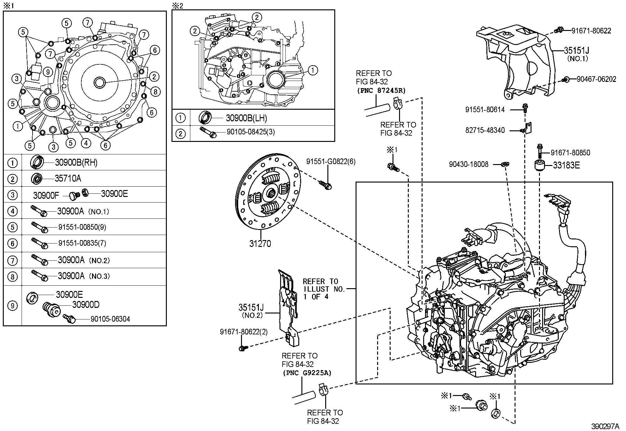 2000 Toyota Bolt (for hybrid vehicle transaxle & engine