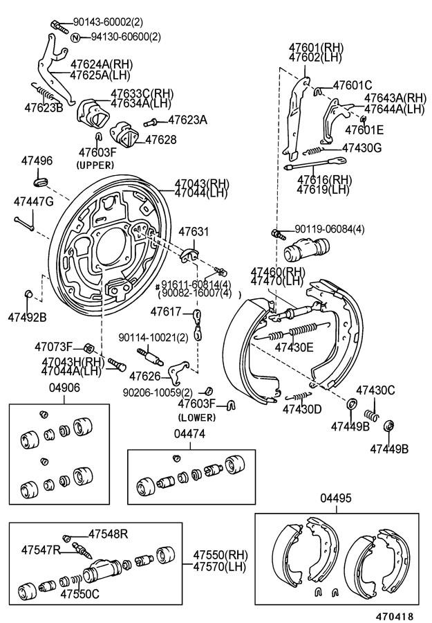 Toyota Tacoma Lever sub-assembly, parking brake shoe, left