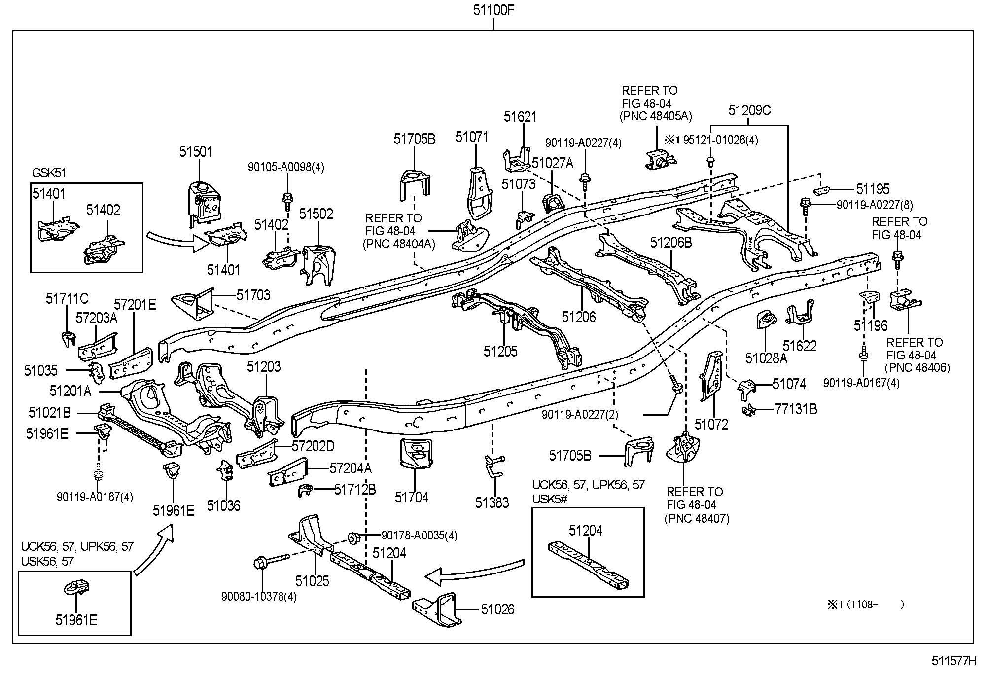 Toyota Tundra Crossmember Sub Assembly Frame No 4
