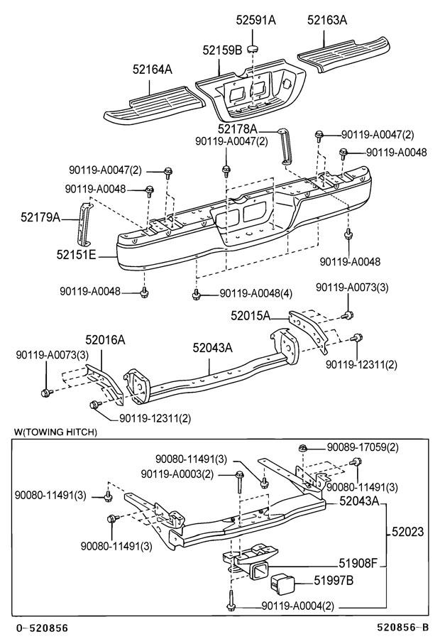 2001 Toyota Tundra Arm sub-assembly, rear bumper, right