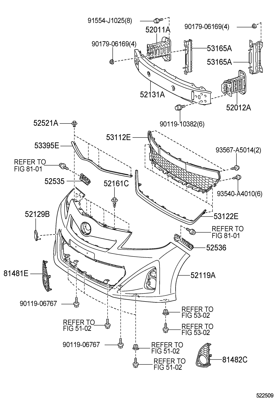 Toyota Yaris Cover, front bumper. Cover, bumper; headlamp