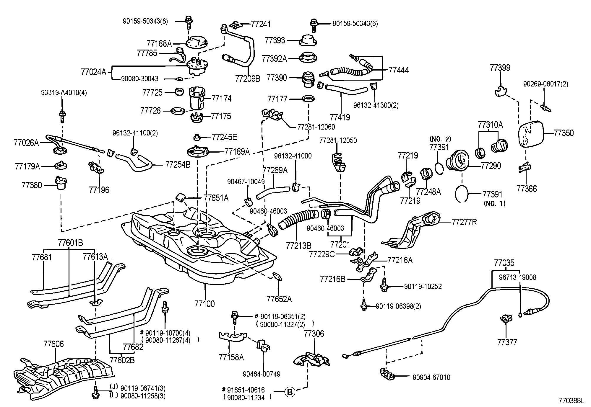 2001 Toyota Corolla Tank assembly, fuel. Tank, fuel. Tank