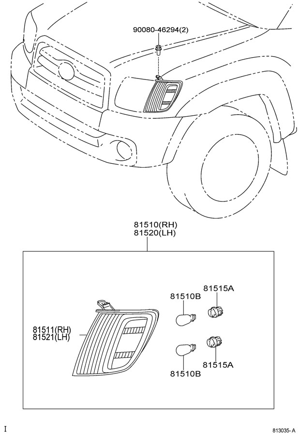Toyota Tundra Bulb (for front turn signal lamp); bulb (for