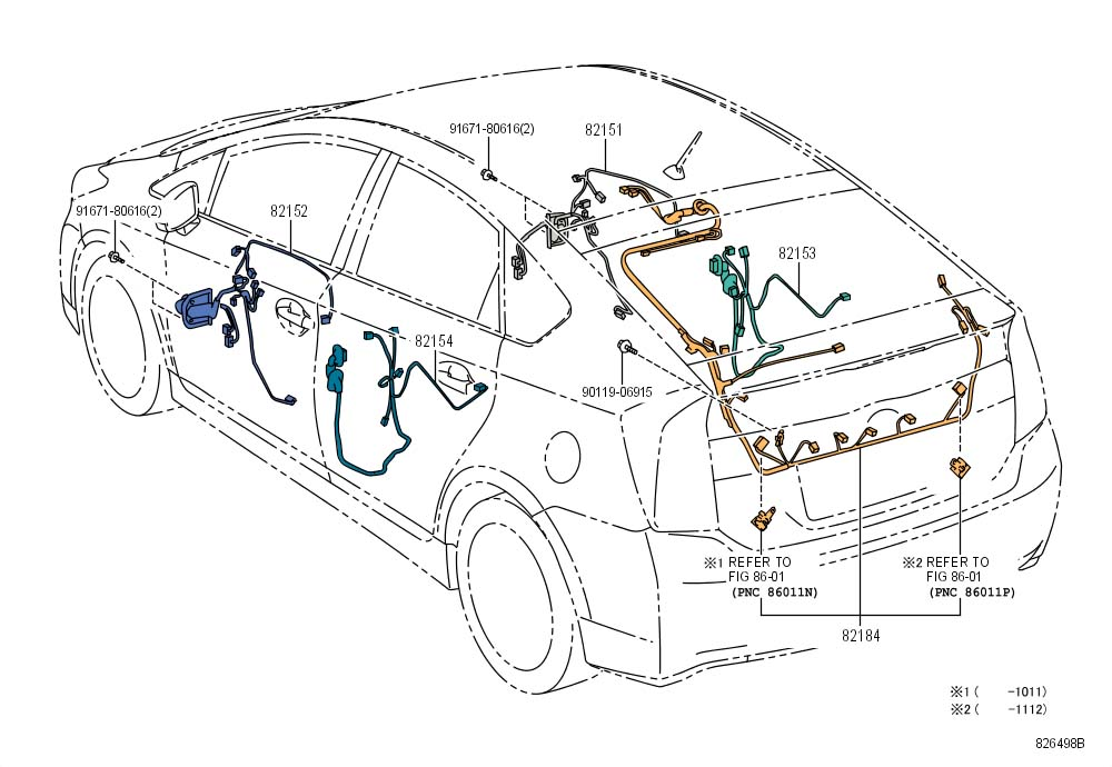 2010 Toyota Prius Wire, rear door, no.2. Wiring. Wiring