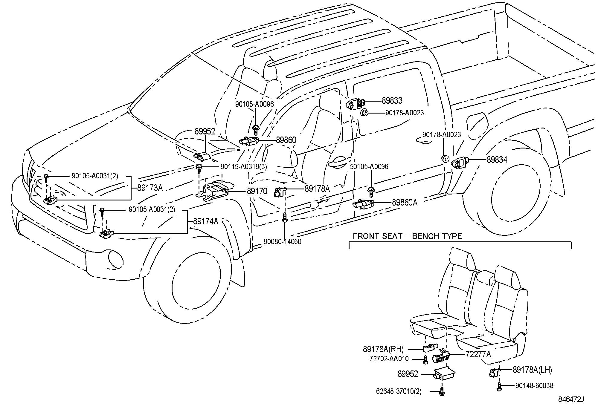 2005 Toyota Tacoma Sensor, seat position air bag. Sensor