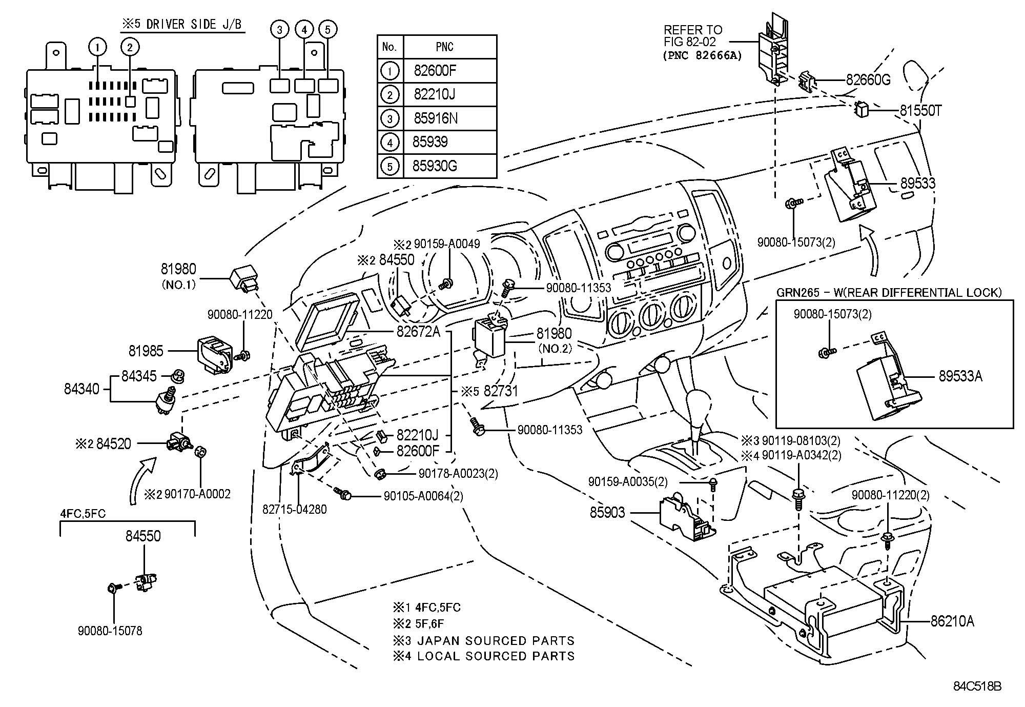 Toyota Tacoma Flasher assembly, turn signal. Flasher