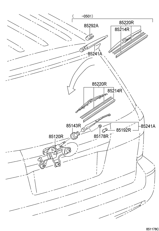 Toyota Sienna Arm Rear Wiper Arm Wiper Arm Wiper