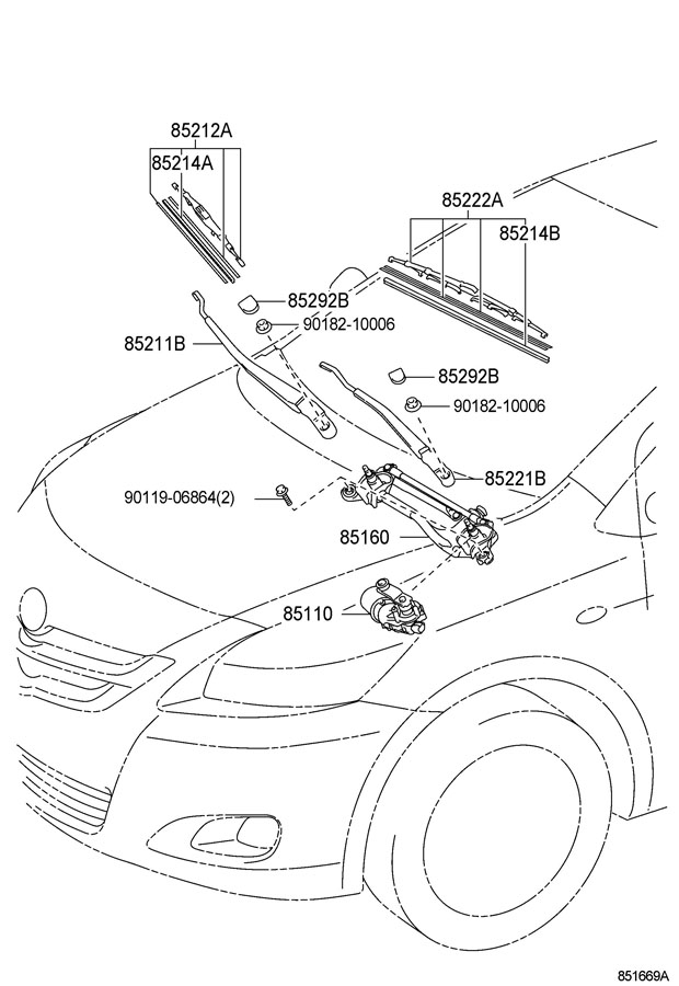 Toyota Yaris Cap, front wiper arm head; cover, windshield
