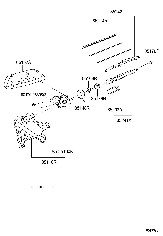 Toyota Highlander Motor Assembly Rear Wiper Motor Wiper