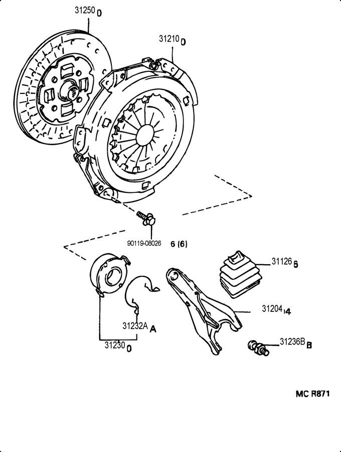 Toyota Corolla CE(-0005) Bearing assembly, clutch release