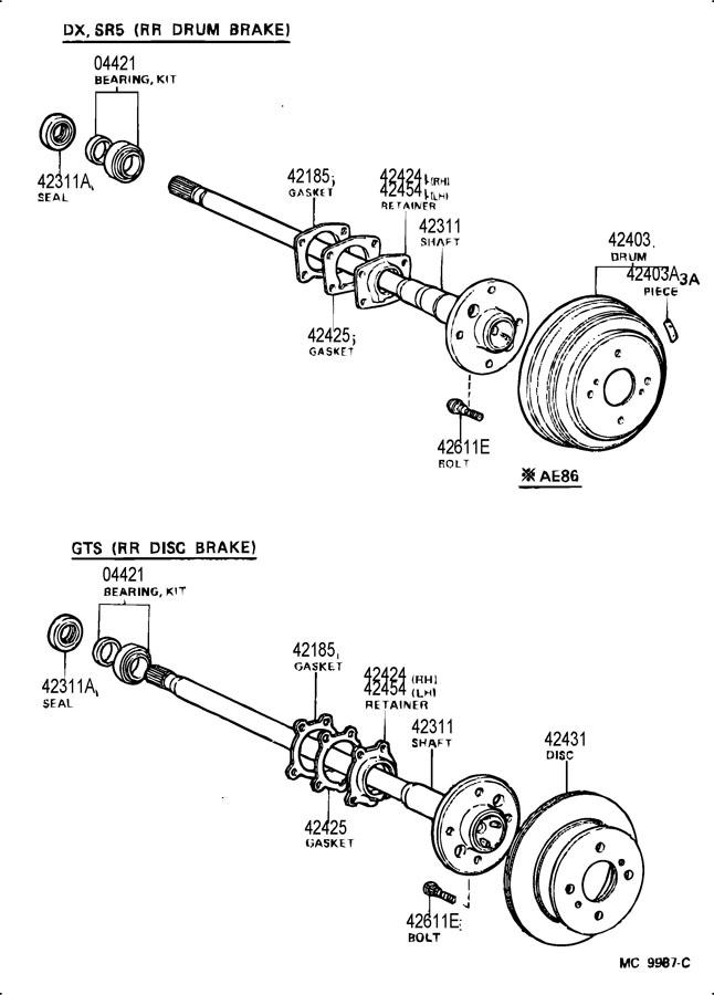 1986 Toyota corolla rear axle