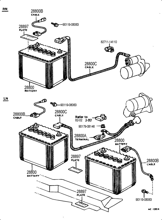 Toyota battery cables