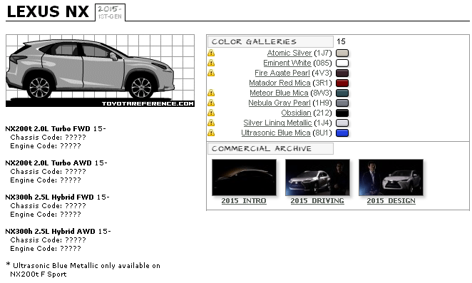 Lexus NX Touchup Paint Codes, Image Galleries, Brochure