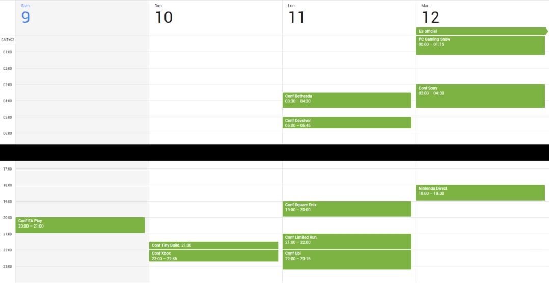 E3 2018 calendrier conférences Netsabes