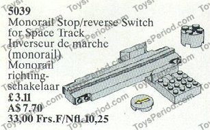 LEGO 5039 Monorail Stop and Reverse Switch Set Parts