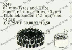 LEGO 5248 62mm Tires with Hubs Set Parts Inventory and
