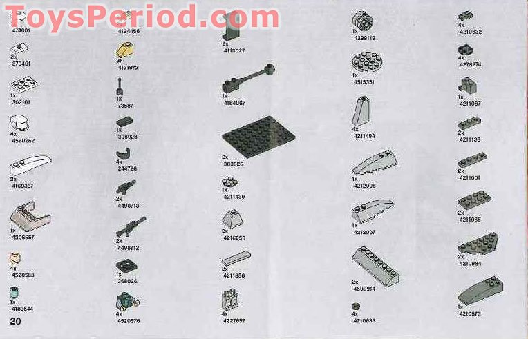 LEGO 7668 Rebel Scout Speeder Set Parts Inventory and