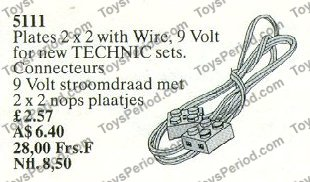 LEGO 5111 9v Motor Wire, 128cm Set Parts Inventory and