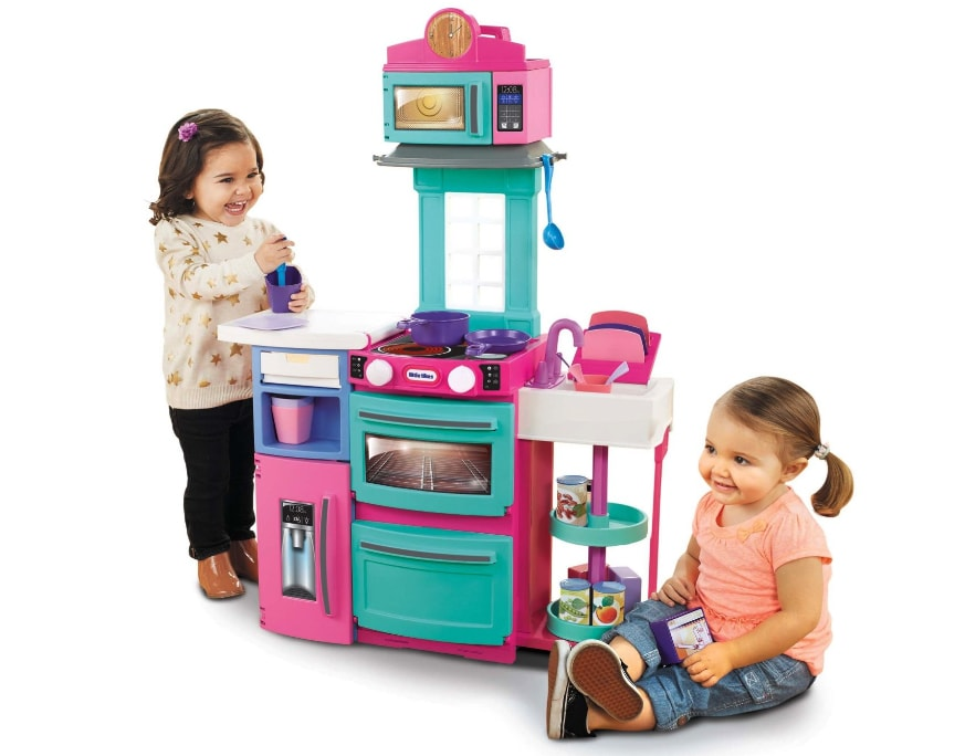 little girl kitchen sets valance 7 ultimate toy for kids up to years old tikes cook n store playset pink