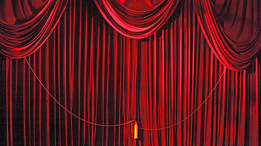 red Andrew Jackson Hall curtain