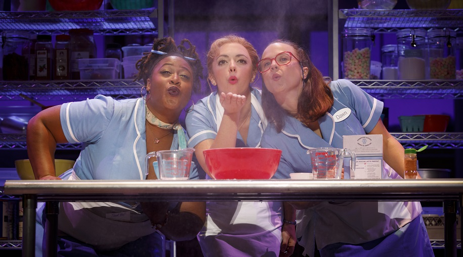cast of waitress baking a pie