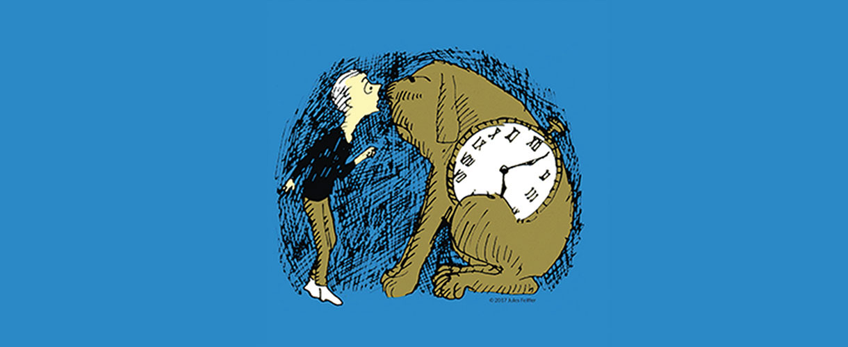 Illustration of a boy and a clock-bodied dog