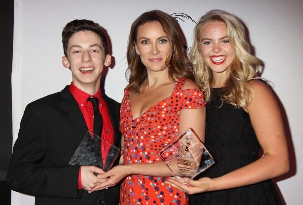 Tony winner and host Laura Benanti (center) with 2018 Jimmy Award winners Reneé Rapp and Andrew Barth Feldman.