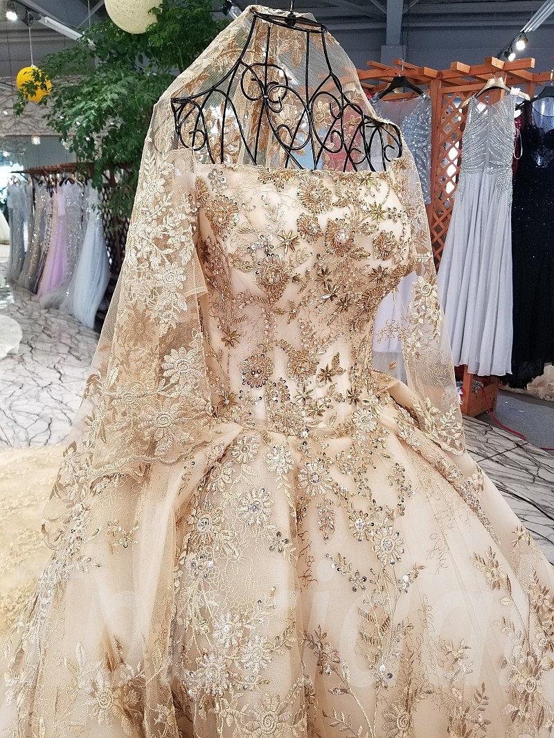 Gold Wedding Dress Brilliant Crystal Paillette Luxury Bridal Gown ...