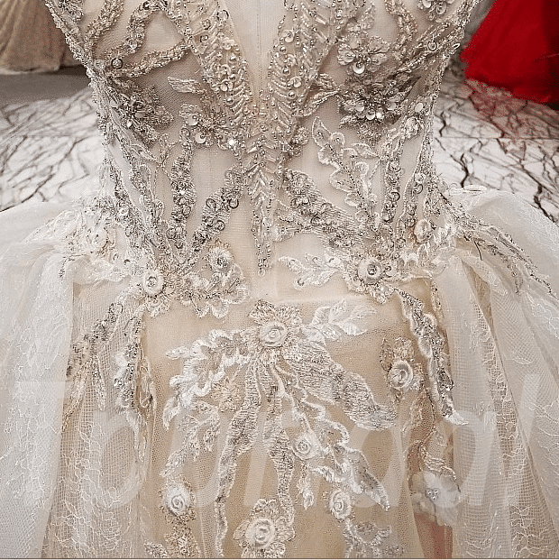 Long Train Wedding Dress Lace Hand Made Bridal Gown • tpbridal