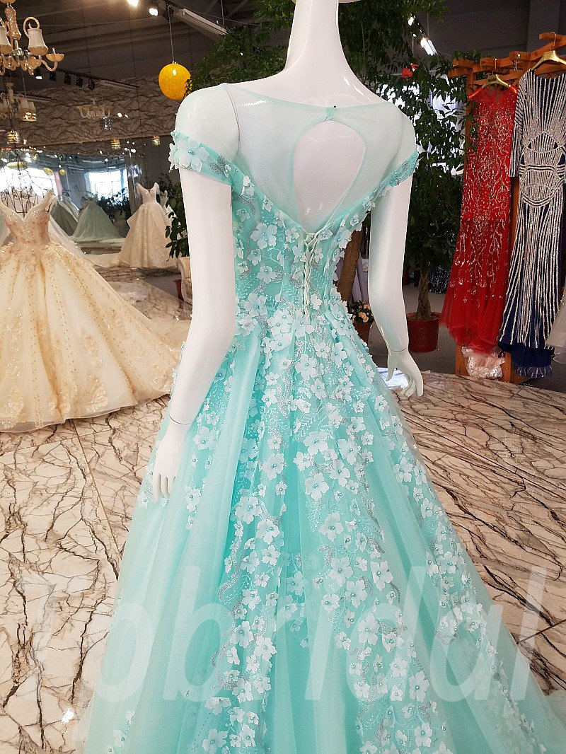Light Blue Prom Dresses Aline Formal Party Dress With Beaded