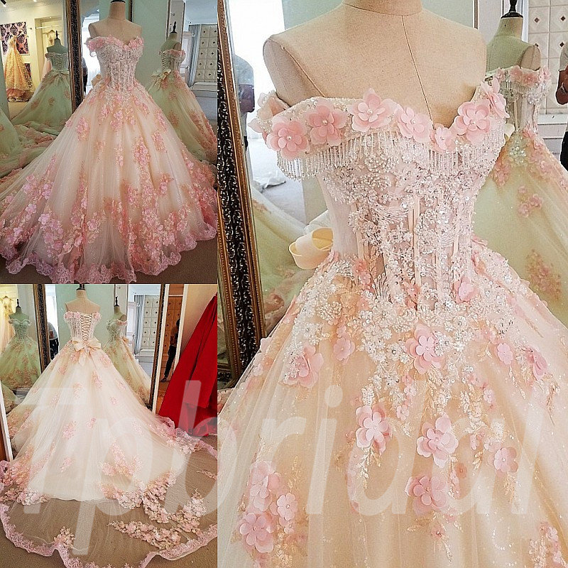 Prom Dress Pink 2018 Ball Gown Princess Formal Party Dress Train