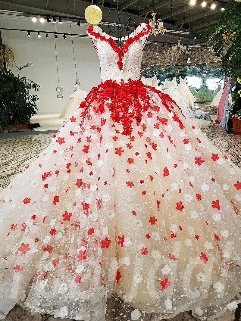 Wedding Dresses Princess V Neck Ball Gown Red Prom Dress