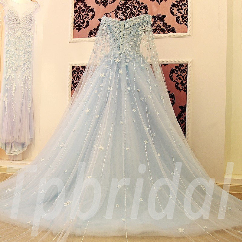 Wedding Dresses Girls Aline Blue and White For Sale
